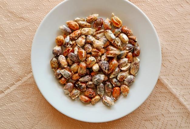 Assiette de grains de maïs chulpe grillé des andes avec appel de sel cancha