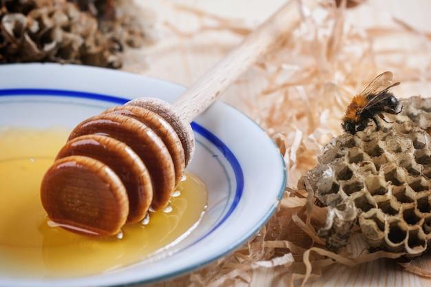 Assiette de miel avec nids d'abeille