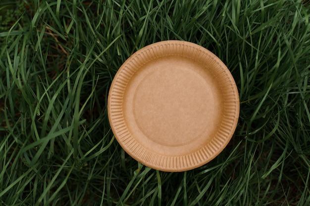 Assiette naturelle écologique d'ustensiles écologiques jetables sur l'herbe verte