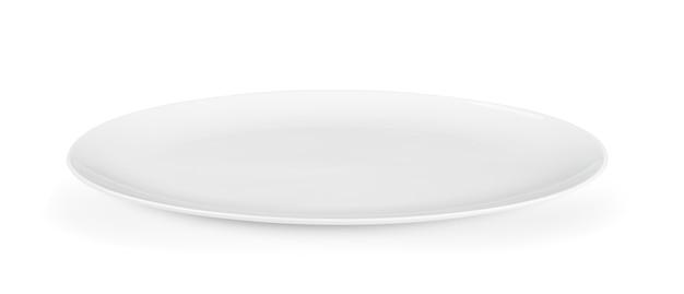 Assiette séramique blanche sur mur blanc