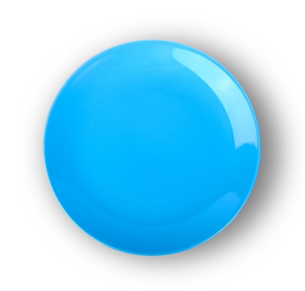 Assiette vide bleu isolé sur fond blanc.vue de dessus