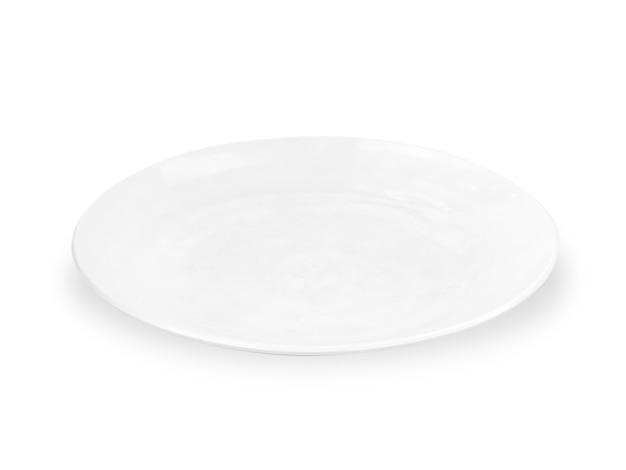 Assiette vide en céramique blanche isolée sur fond blanc. chemin de détourage