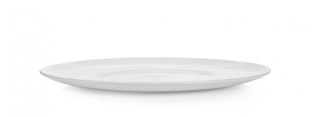 Assiette vide sur un espace blanc