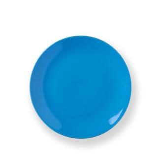 Assiette vide isolée sur fond blanc. vue d'en-haut