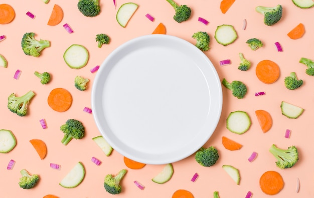 Assiette vue de dessus entourée de légumes biologiques