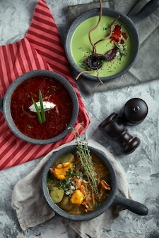 Assiettes grises avec différentes soupes sur un gris. assiette de soupe d'asperges à la pieuvre, une assiette de bortsch traditionnel à la crème sure, une assiette de soupe aux champignons et se tenant debout multicolore