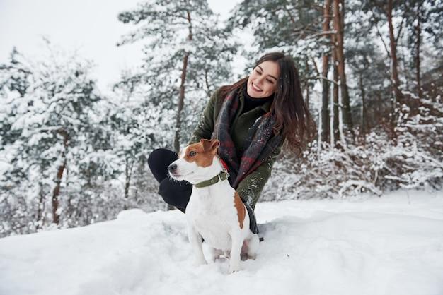 Assis ensemble. brunette souriante s'amusant en marchant avec son chien dans le parc d'hiver