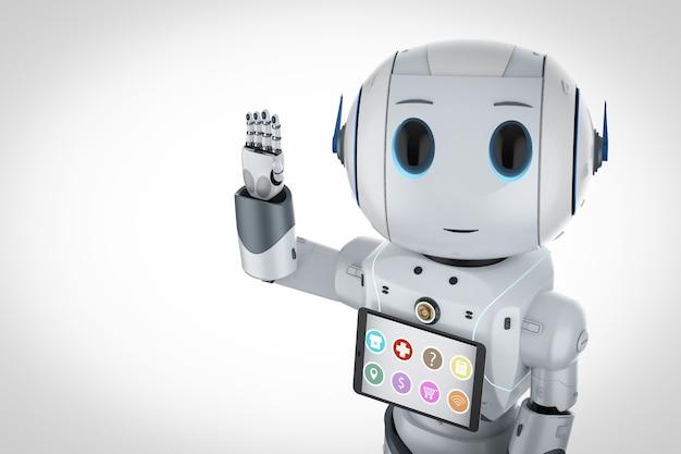 Assistant robot avec robot mignon de rendu 3d avec tablette numérique