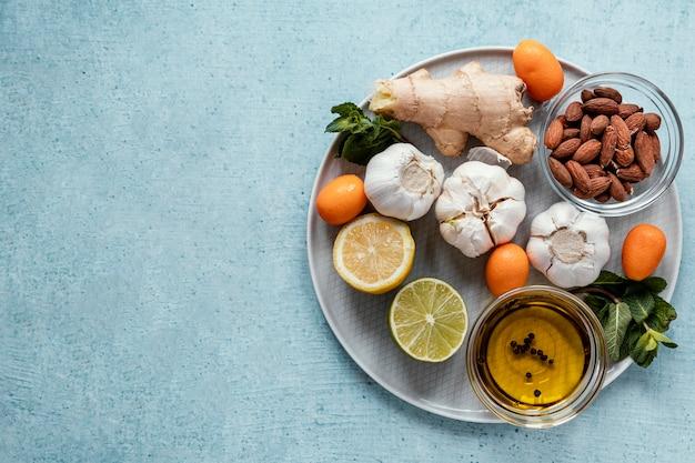 Assortiment d'aliments sains pour renforcer l'immunité