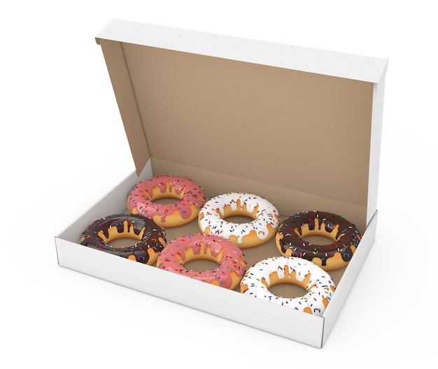 Assortiment de beignets sucrés dans une boîte en carton sur fond blanc. rendu 3d