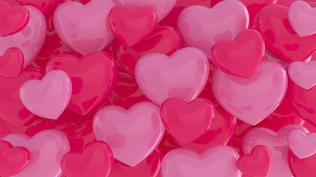 Assortiment de coeurs roses et rouges