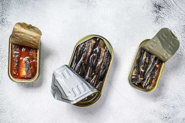 Assortiment de conserves de poisson dans une boîte de sardine, sardine fumée, maquereau.