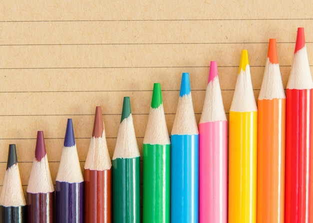 Un assortiment de crayons de couleur sur fond de cahier.