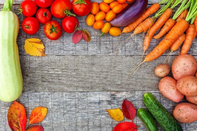 Assortiment de différents légumes biologiques frais sur fond en bois de style campagnard