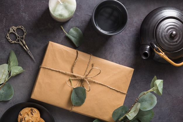 Assortiment d'emballages cadeaux vue de dessus