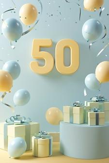 Assortiment festif du 50e anniversaire avec des ballons