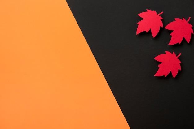 Assortiment de feuilles d'automne avec espace copie
