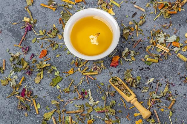 Assortiment de feuilles de thé sec de différentes qualités dans une cuillère en bois et une tasse de thé vert. thé aux herbes, vert et noir bio aux pétales de fleurs sèches pour la cérémonie du thé.