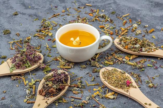 Assortiment de feuilles de thé sèches de différentes qualités dans des cuillères en bois et une tasse de thé vert.