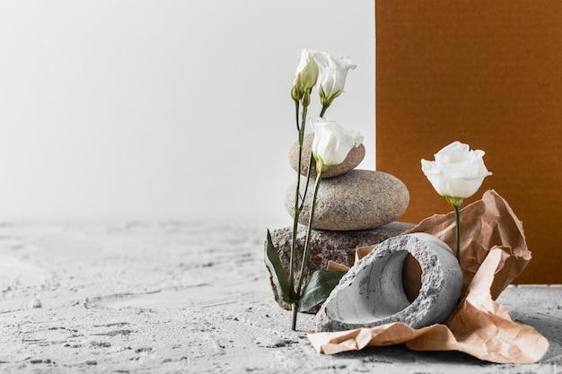Assortiment de fleurs printanières blanches avec espace copie