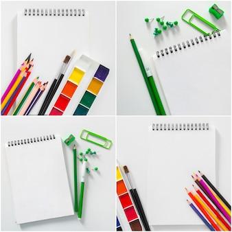 Assortiment de fournitures scolaires avec des cahiers