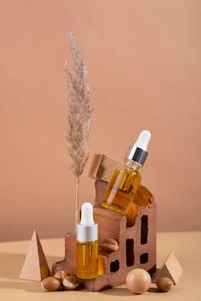 Assortiment d'huile d'argan saine vue de face