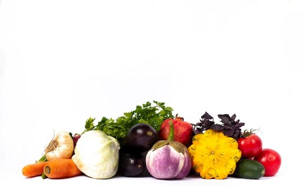 Assortiment de légumes, bannière sur fond blanc, horizontal