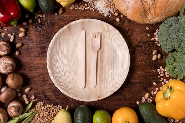 Assortiment de légumes et graines vue de dessus