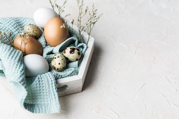 Assortiment d'œufs de poule à angle élevé