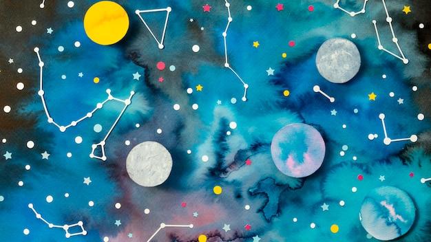 Assortiment de planètes en papier créatives