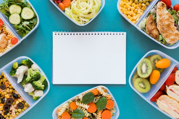 Assortiment plat la nourriture saine