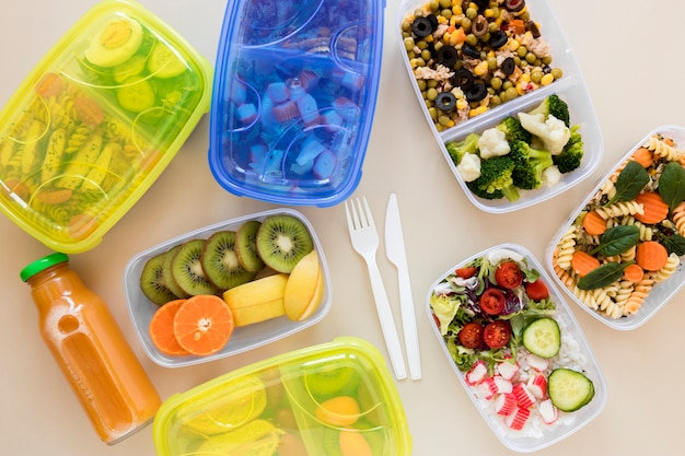 Assortiment de plats à plat dans des conteneurs