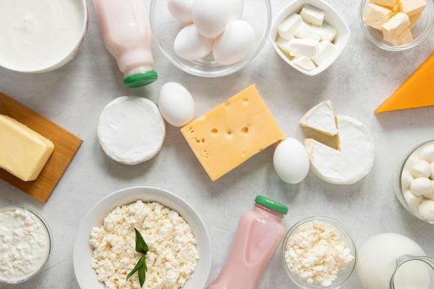 Assortiment de produits laitiers vue ci-dessus