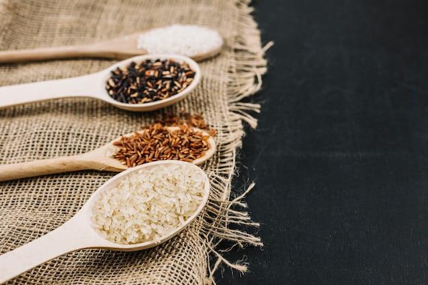 Assortiment de riz en cuillères