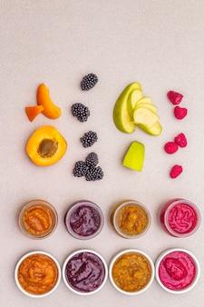 Assortiment sain biologique de purée de fruits maison