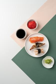 Assortiment de sushi vue de dessus