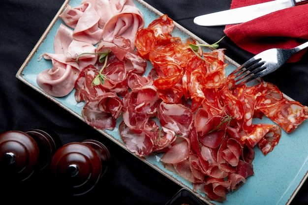 Assortiment de viandes froides, prosciutto, tranches de jambon, boeuf séché et salami