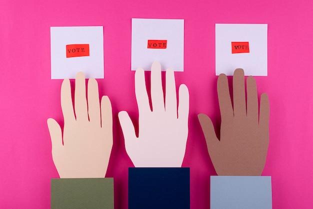 Assortiment de vote de style papier vue de dessus
