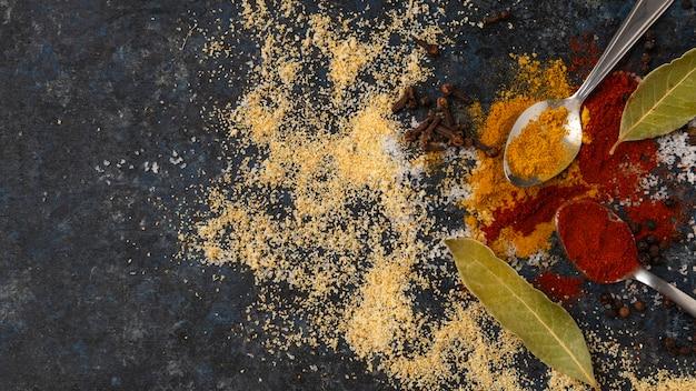 Assortiment vue de dessus de délicieuses épices crues
