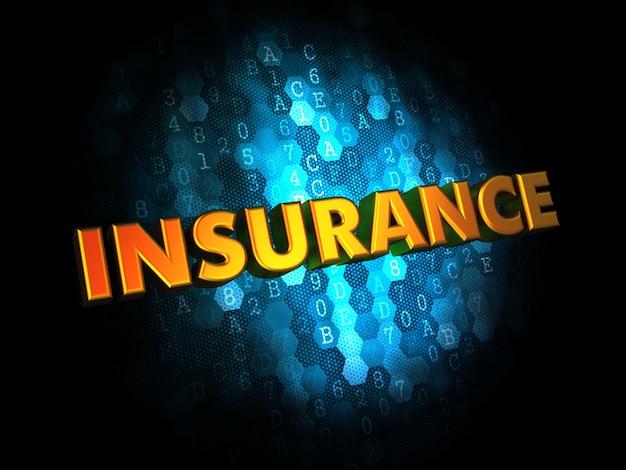 Assurance - texte de couleur dorée sur fond numérique bleu foncé.