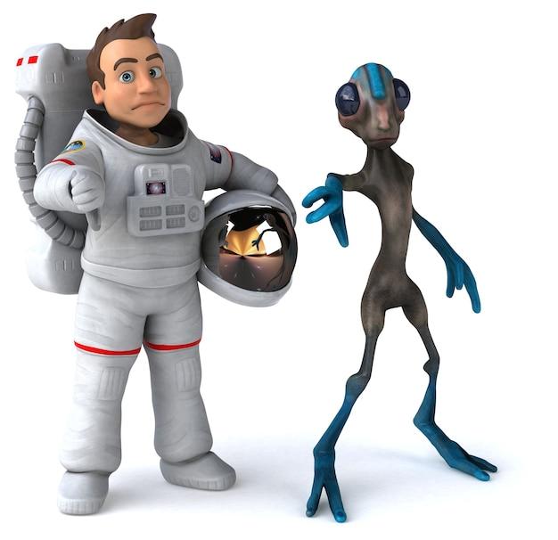 Astronaute amusant rencontrant un extraterrestre