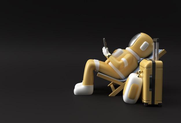 Astronaute de l'astronaute de rendu 3d assis sur une chaise à l'aide d'un téléphone avec une valise de voyage illustration 3d conception.