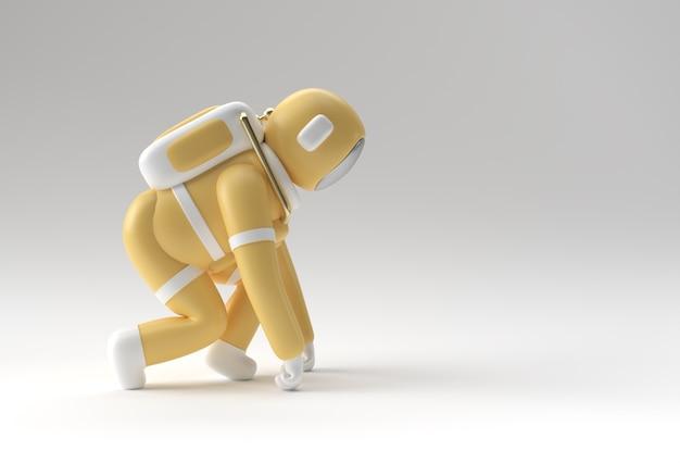 Astronaute de l'astronaute de rendu 3d exécutant la conception d'illustration 3d