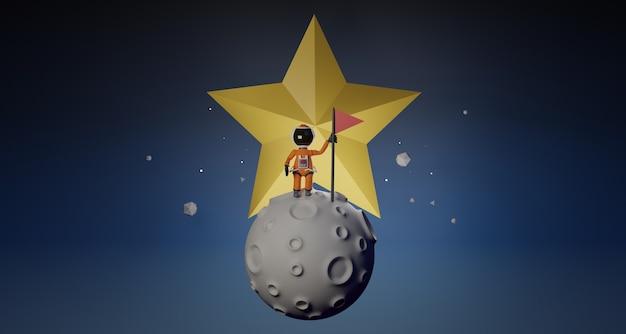 Astronaute de dessin animé avec drapeau se dresse sur la lune et l'étoile derrière le rendu 3d