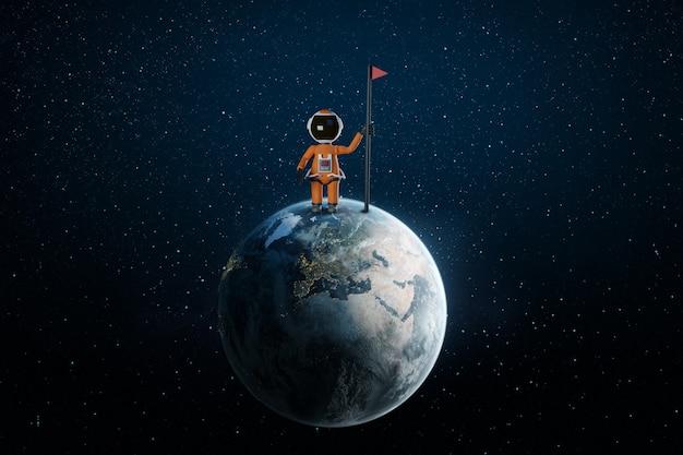 Astronaute de dessin animé avec drapeau se dresse sur le rendu 3d de la terre