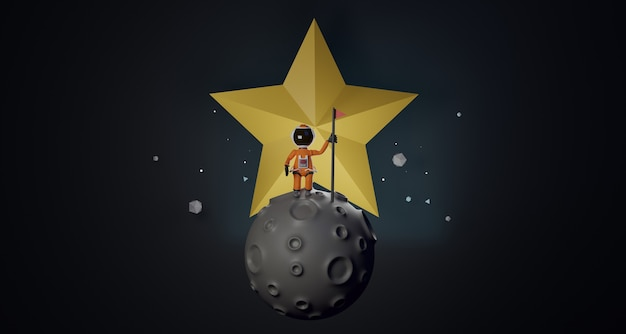 L'astronaute de dessin animé avec le drapeau se tient sur l'étoile derrière le rendu 3d