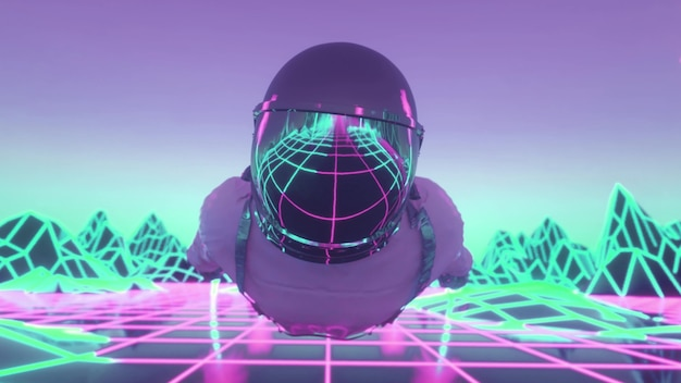 Astronaute entouré de néons clignotants. concept de musique et de discothèque. rendu 3d.