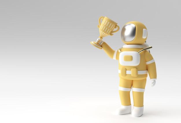 L'astronaute qui a réussi a obtenu le premier prix du rendu 3d du trophée.
