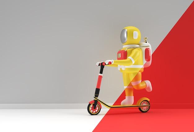 Astronaute de rendu 3d chevauchant une illustration de conception d'art 3d de scooter de poussée.