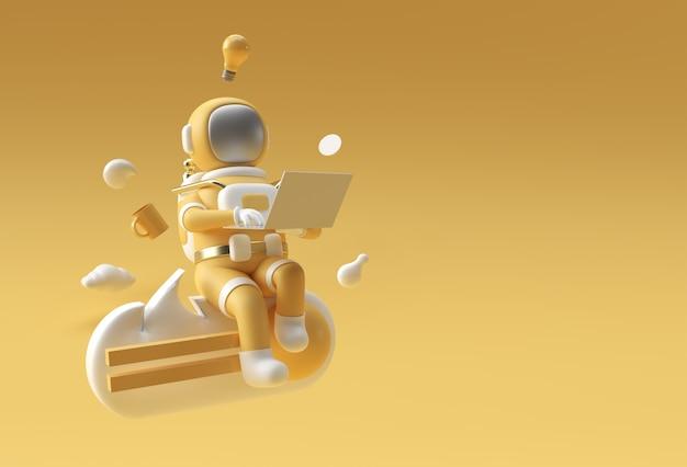 Astronaute de rendu 3d en combinaison spatiale travaillant sur ordinateur portable, illustration 3d.